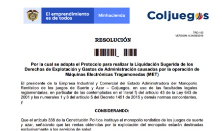 Liquidación Sugerída: Coljuegos pública proyecto de resolución