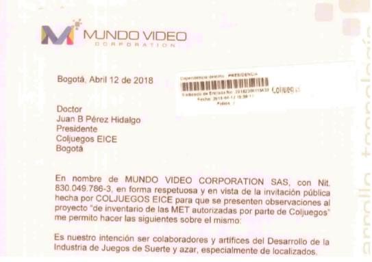 Mundo Video Corp radica comentarios sobre el inventario de MET´s